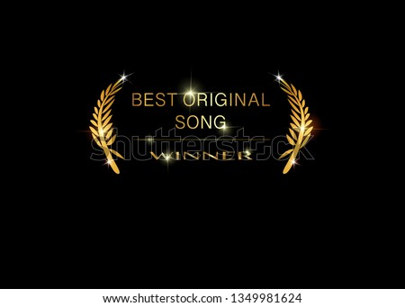 Gold vector best music awards winner concept template with golden shiny text isolated or black background. Best original soundtrack prize icon