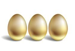 Gold Vector Egg Concept. Unique golden eggs