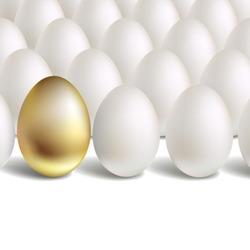 Gold Vector Egg Concept. White and unique golden eggs