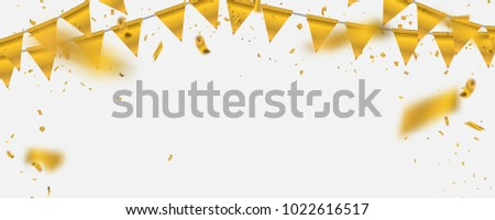Gold vector illustration Confetti and flag ribbons, Celebration background template with