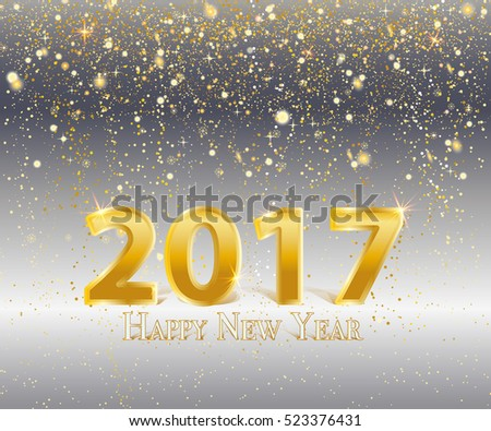 gold vector snowfall on grey background with 2017 happy new year sign