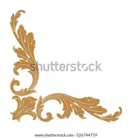Gold Vintage Baroque Corner Ornament Retro Pattern Antique Style Acanthus Decorative Design Element Filigree Calligraphy