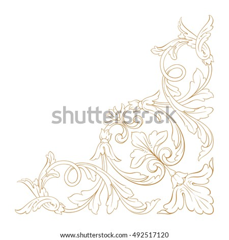 Gold vintage baroque element ornament. Retro pattern antique style acanthus. Decorative design element filigree calligraphy vector.