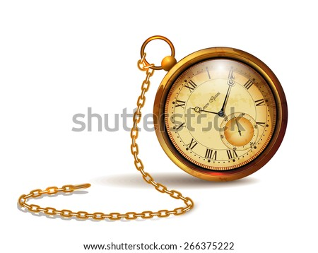 Gold vintage clock with roman numerals and chains Foto d'archivio ©