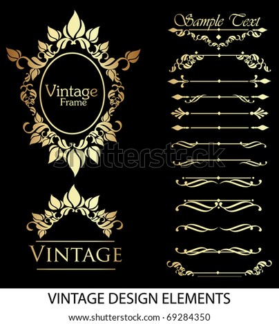 Gold vintage elements for your design