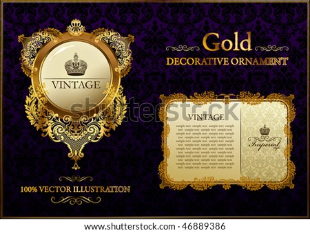 Gold vintage frame ornament. Calligraphic elements set. Vector Gold black frames decor set label. Gold frame decor ornament border. Gold ornament flourish border. Royal frame. Elegant gold book frame