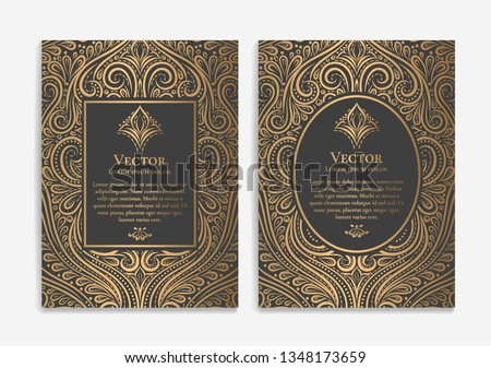 Gold vintage greeting card design with a black background. Luxury vector ornament template. Mandala. Great for invitation, flyer, menu, brochure, wallpaper, decoration, or any desired idea.
