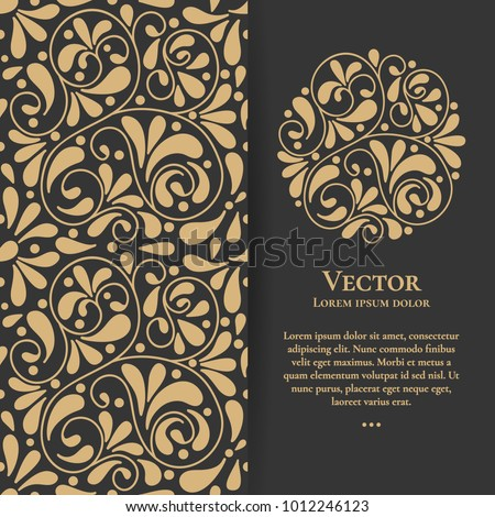 Gold vintage greeting card on a black background. Luxury ornament template. Great for invitation, flyer, menu, brochure, postcard, background, wallpaper, decoration, or any desired idea.