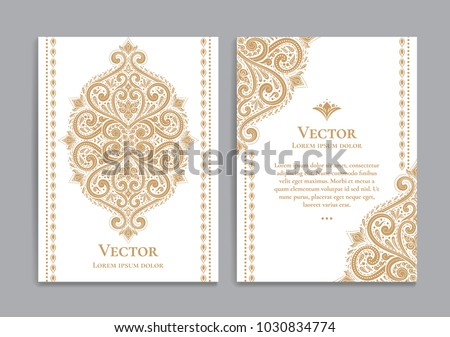 Gold vintage greeting card on a white background. Luxury ornament template. Great for invitation, flyer, menu, brochure, postcard, background, wallpaper, decoration, or any desired idea.