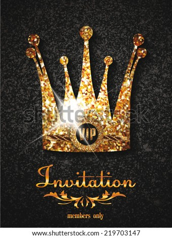gold vip invitation card with