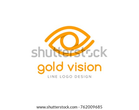 Gold vision logo concept. Flat line eye icon design template. Golden linear symbol of vision correction. Creative minimal vector element
