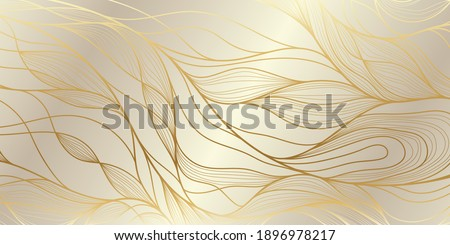 Gold wavy pattern. Luxurious golden linear ornament. Premium design for wallpapers, silk textiles and jewelry. Vector illustration.