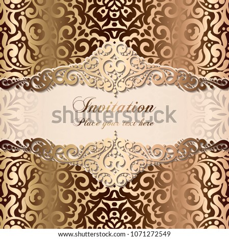 Picnetz Gold Wedding Invitation Card Template Design With Damask
