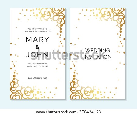 gold wedding invitation thank you card save the date. Black Bedroom Furniture Sets. Home Design Ideas