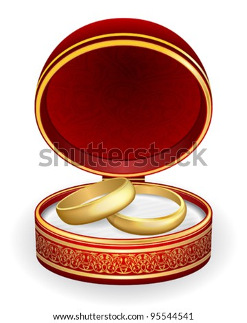 Gold wedding rings in red box. Eps10