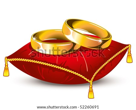 gold wedding rings on red satin pillow with tassels, vector