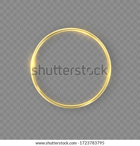 Gold wedding rings with glowing lights and gold sparkles on transparent background. Golden metal ring with lighting effect and reflection. Beautiful for women. Vector illustration, eps 10.
