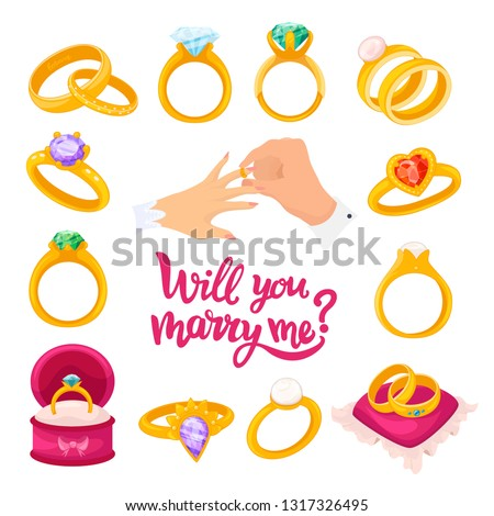Gold wedding wing, will you marry me text. Ring given by one partner to the other during a marriage ceremony. Vector flat style cartoon illustration isolated on white background