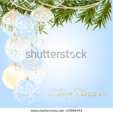 gold, white end blue transparent Christmas ball on christmas background, vector illustration