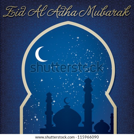 "Gold window ""Eid Al Adha Mubarak"" (Blessed Eid Al Adha) card in vector format."