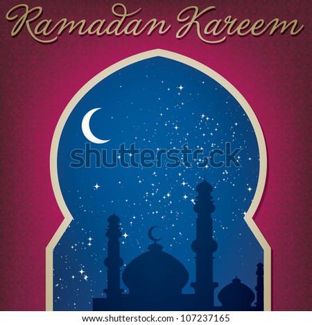 "Gold window ""Ramadan Kareem"" (Generous Ramadan) card in vector format."