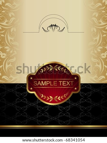Gold wine label - vector