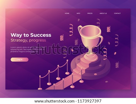 Gold winner cup on red carpet with barriers. Trophy landing page concept, victory, award, achievement. isometric trophy cup on a pedestal with confetti. Eps10 vector