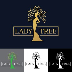 Gold Woman Lady tree logo vector art design