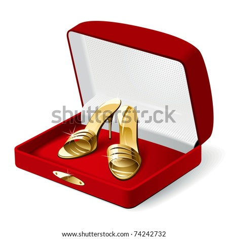 Gold Woman Shoes in the Red Present Box. Vector Illustration