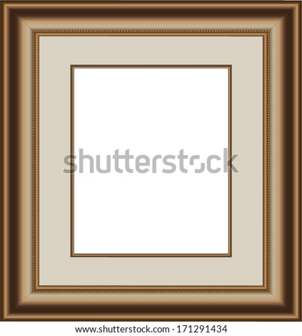 Gold wood picture frame proportioned to 10\