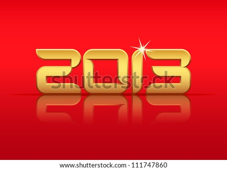 Gold 2013 year with reflection on red background, vector illustration eps10