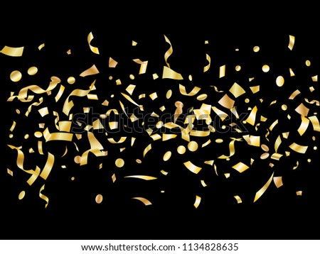 Gold yellow on black glowing holiday realistic confetti flying vector background. Chic flying tinsels, foil texture serpentine streamers, sparkles, confetti falling Christmas background.