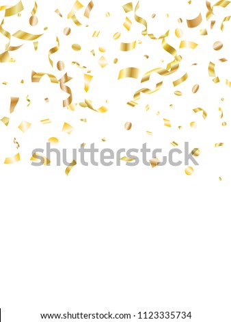 Gold yellow on white foil holiday realistic confetti flying vector background. Glamour flying tinsels, foil texture serpentine streamers, sparkles, confetti falling carnival background.