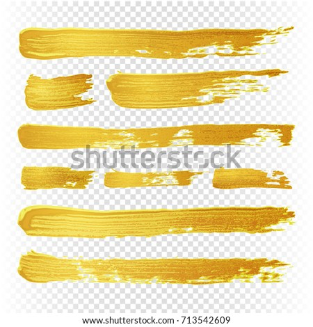 Gold yellow paint vector textured abstract brushes. Golden hand drawn brush strokes. Illustration of brush golden paint watercolor
