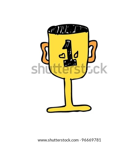 gold / yellow trophy first place - vector illustration