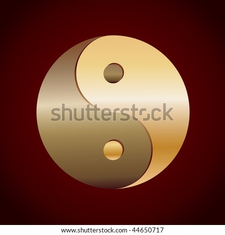 gold Yin Yang Symbol on brown background, vector