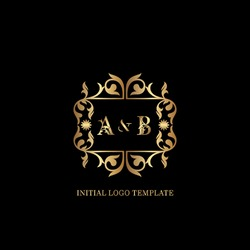 Golden AB Initial logo. Frame emblem ampersand deco ornament monogram luxury logo template for wedding or more luxuries identity