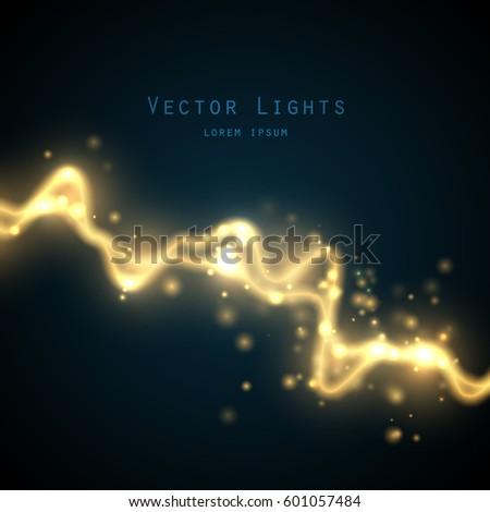 Golden abstract  energy shock effect with many glowing particles. Electric discharge on dark background. Vector illustration for your design
