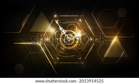 Golden Abstract Futuristic Technology Background with Clock concept and Time Machine, Can rotate clock hands, vector illustration
