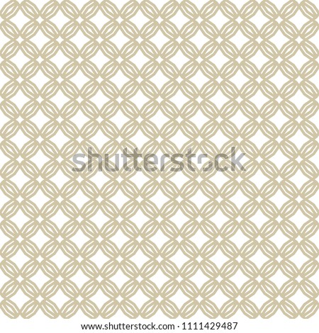 Golden abstract geometric seamless pattern in oriental style. Luxury vector background. Simple graphic floral ornament. White and gold texture with grid, lattice, star shapes, squares, repeat tiles.