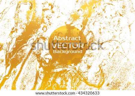 Golden Abstract Painted Marble Illustration Watercolor Spot Background Brush Splash Vector Art