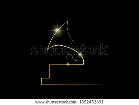 golden abstract silhouette icon of an old gramophone. Gold vector best music awards winner concept, isolated on black background