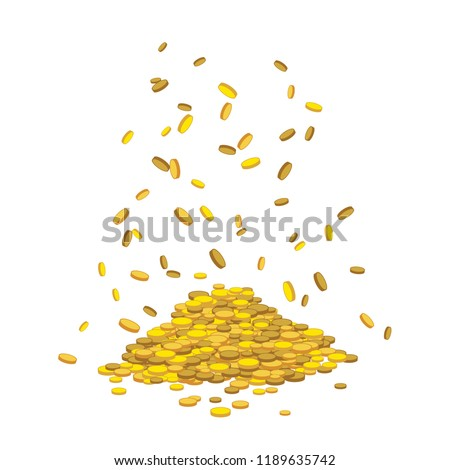Golden abundant money rain. A lot of coins falling down on mountain. Hill with drop gold cash. Vector dollar mount isolated on transparent background. For lottery winning, business success concept.