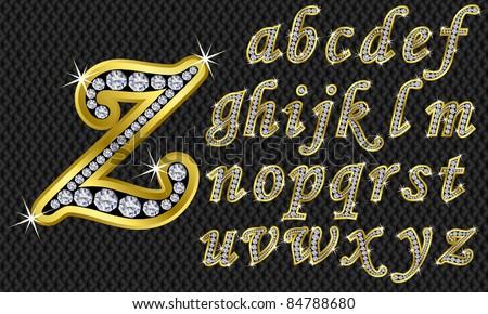 Free Golden Alphabet With Diamonds Vector Download Free Vector Art