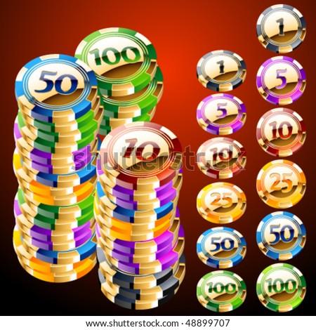 Golden an shiny casino chips