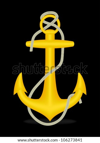Golden anchor on black, vector, 10eps.
