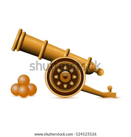 golden ancient cannon with