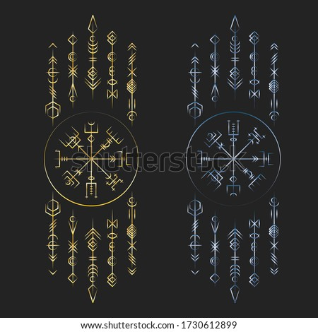 Golden and blue gradien colors old ancient magic runic symbols  isolated on black background Stock fotó ©