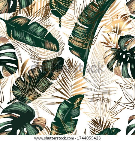 golden and green tropical leaves on a white background. Seamless pattern in the style of Jungalow and Hawaii. Botanical background.