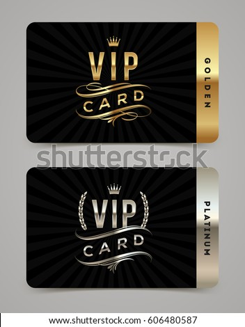 Golden and platinum VIP card template - type design with crown, laurel wreath and flourishes on a black  background. Vector illustration.